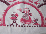 HTF Fairytale 30s Red Magenta Linen Novelty Vintage Printed Tablecloth (52 X 46)
