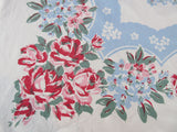 Early Rhododendrons Roses on Blue Floral Vintage Printed Tablecloth (45 X 44)