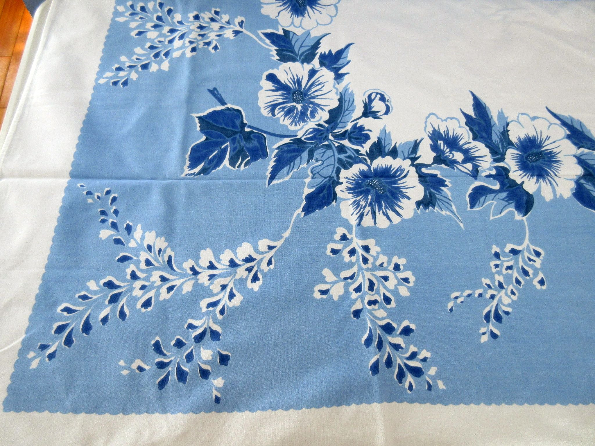 Large Morning Glories on Blue Floral Vintage Printed Tablecloth (64 X 51)