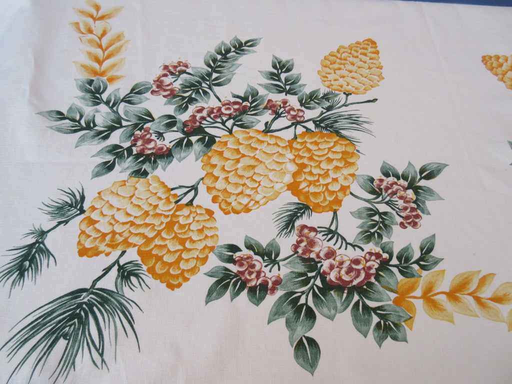 Startex Pinecones CUTTER? Christmas Novelty Vintage Printed Tablecloth (54 X 48)