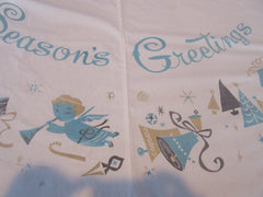 Rare Damaged Seasons Greetings Aqua Tan Christmas Novelty Vintage Printed Tablecloth (68 X 64)