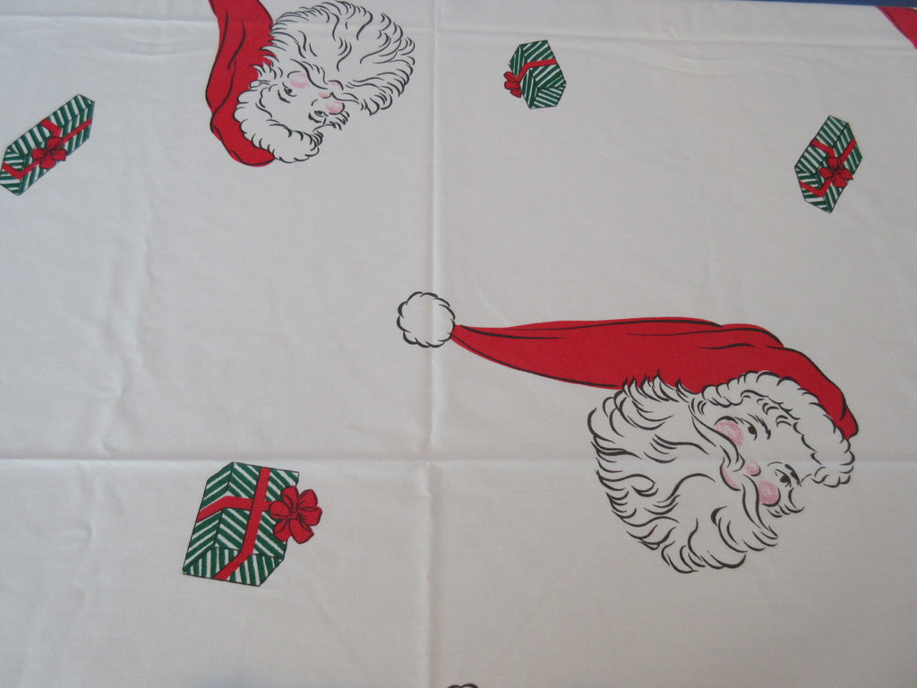 Unusual Santa Head Gifts Christmas Novelty Vintage Printed Tablecloth (72 X 60)