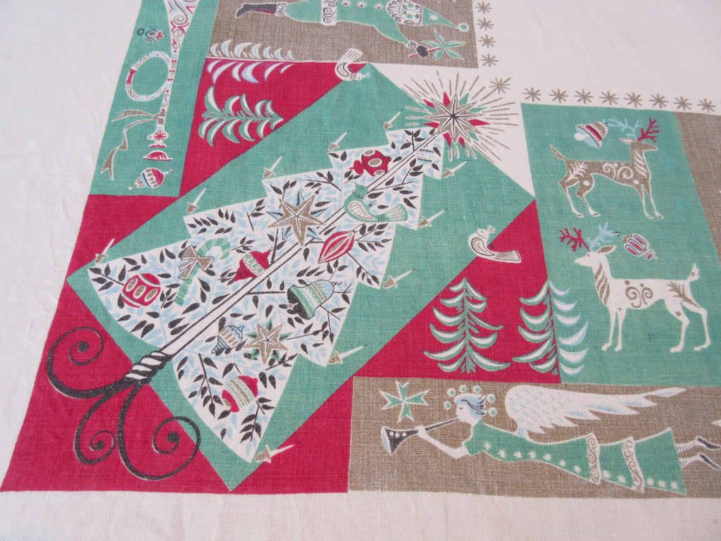 Damaged Atomic Santa Tree Linen Christmas Novelty Vintage Printed Tablecloth (81 X 59)