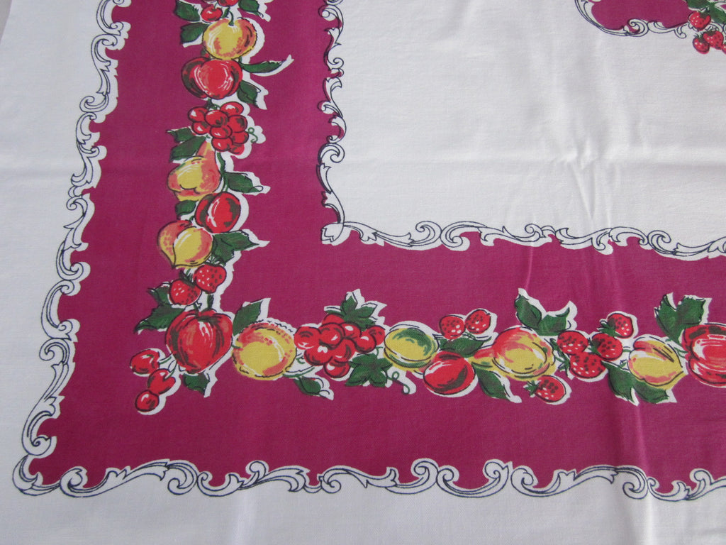 Primary Fruit on Magenta Vintage Primary Tablecloth (54 X 50)