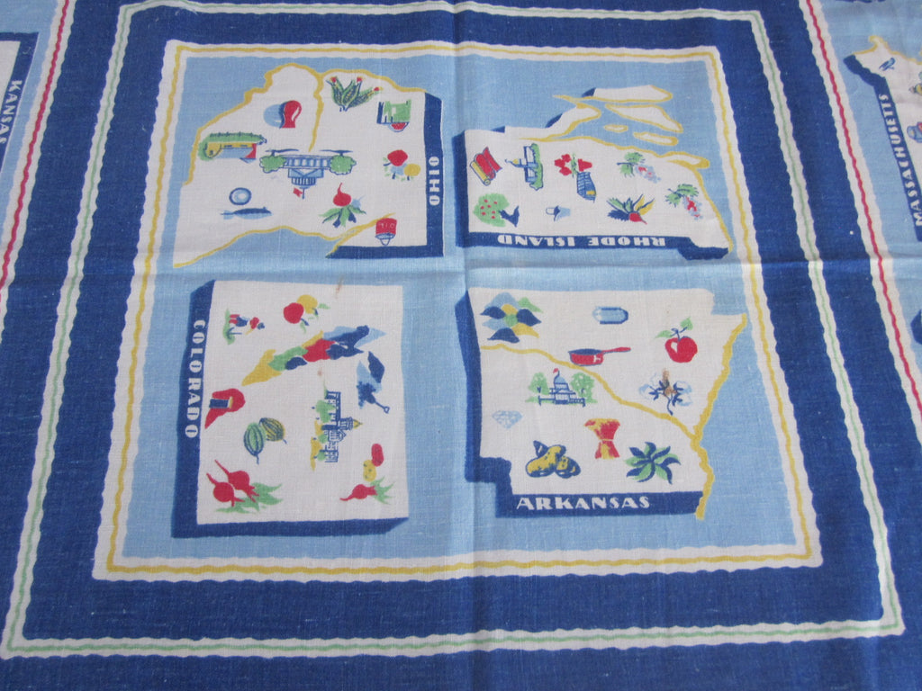 Trimmed 1939 NYWF Souvenir Vintage Printed Tablecloth (50 X 49)