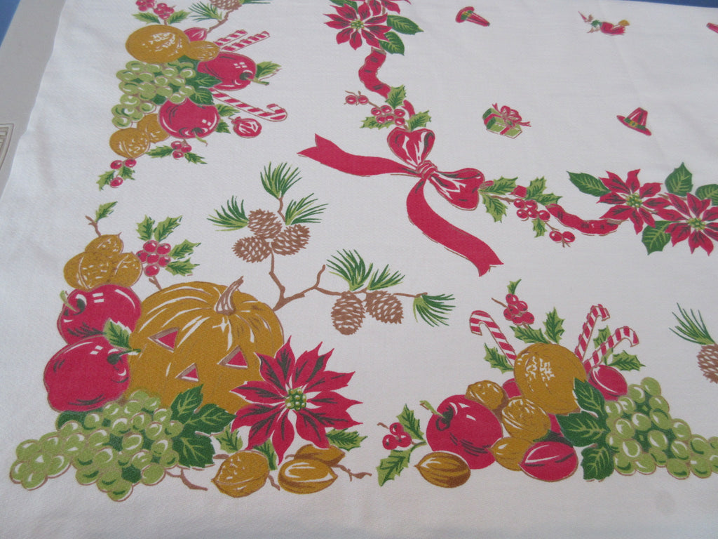 Rare Simtex Halloween Christmas Faded Novelty Vintage Printed Tablecloth (48 X 46)