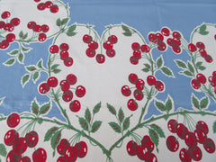 Amazing Red Green Cherry Hearts on Blue Valentines Vintage Printed Tablecloth (62 X 53)
