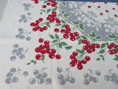 Bright Red Green Cherries on Gray Vintage Printed Tablecloth (50 X 47)