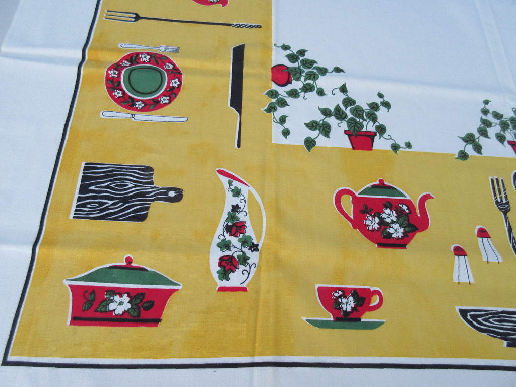 Bright Primary Kitchen Items on Yellow Cutter? Vintage Printed Tablecloth (50 X 49)