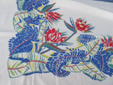 Tropical Bird of Paradise Primary Floral Vintage Printed Tablecloth (56 X 50)