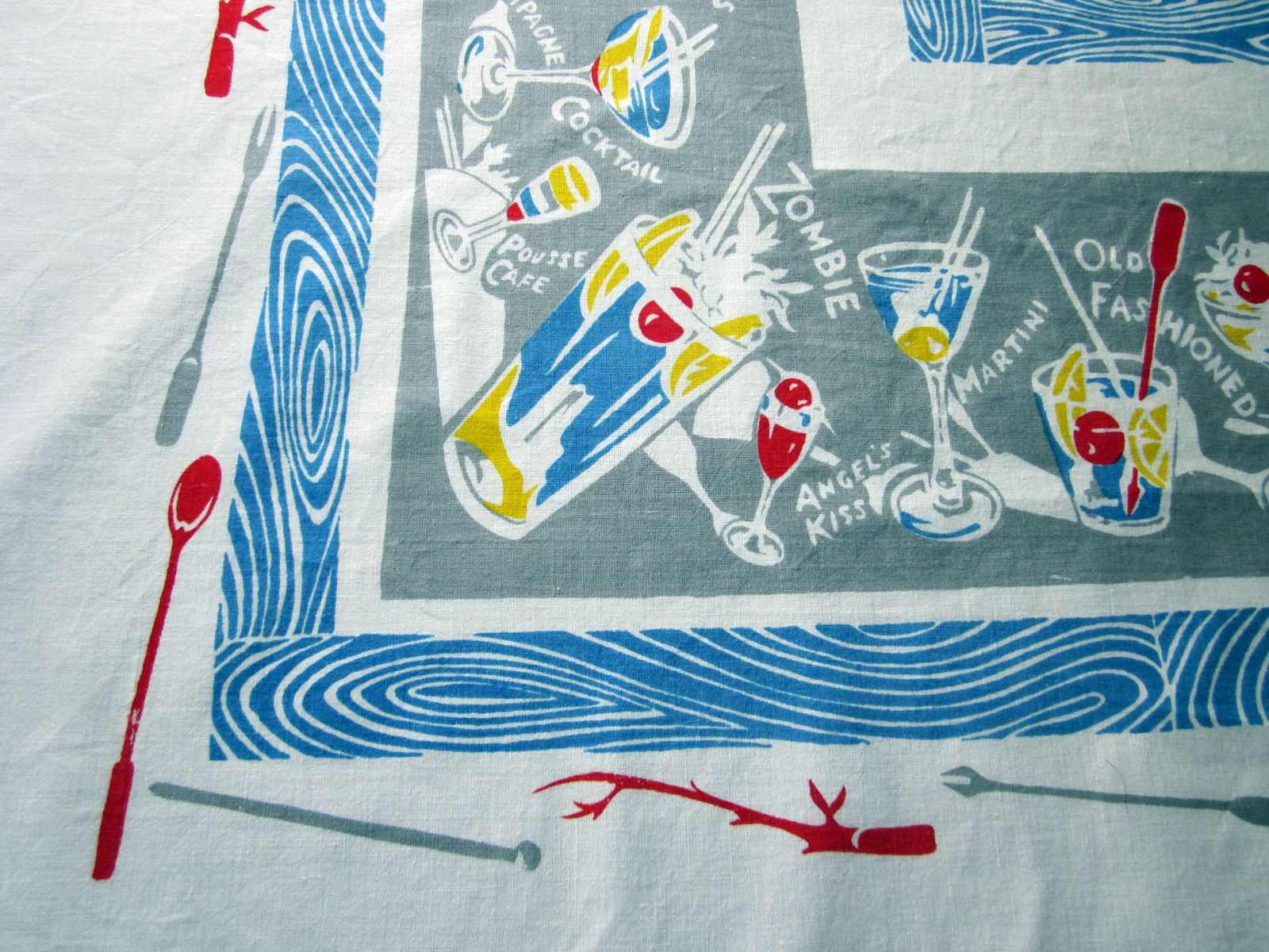 Rare Cocktails on Gray Novelty Vintage Printed Tablecloth (52 X 51)