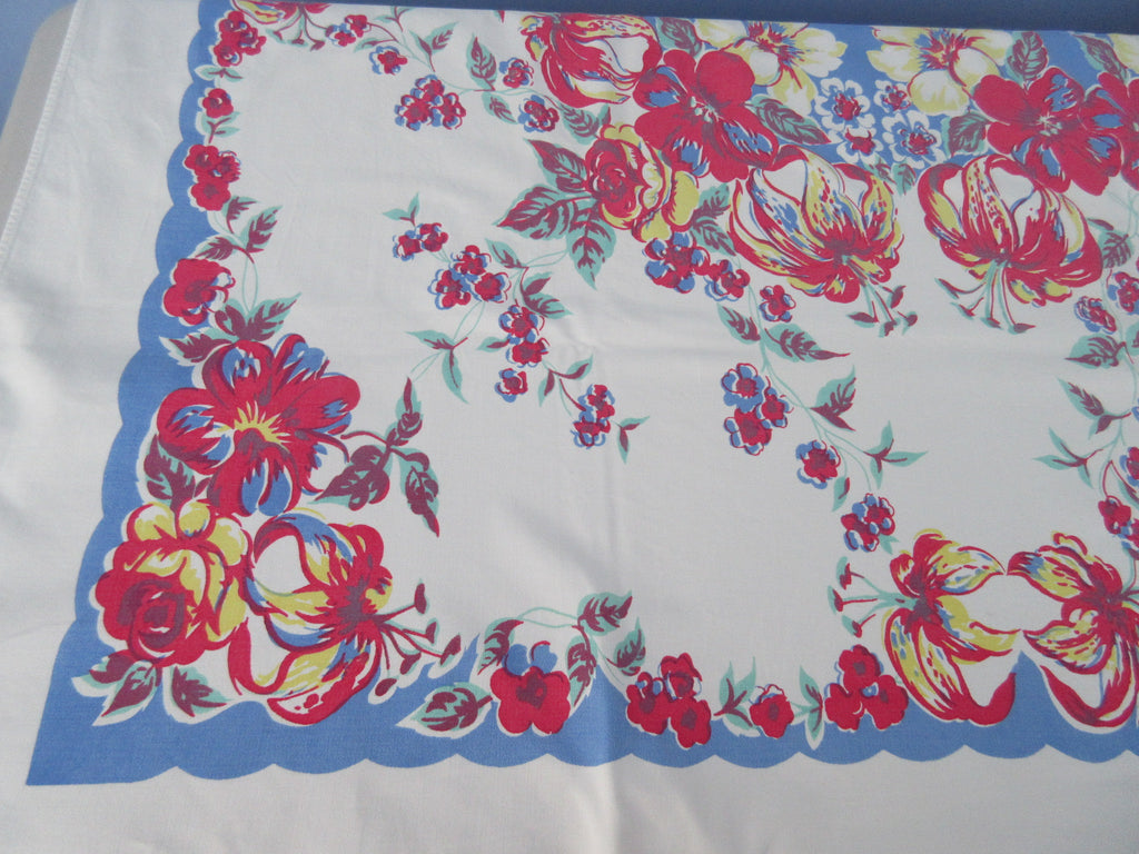Red Yellow Tiger Lilies on Blue Larger Floral Vintage Printed Tablecloth (58 X 55)