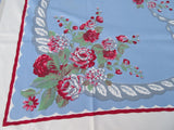 Red Gray Roses Swoops on Blue Floral Vintage Printed Tablecloth (51 X 49)