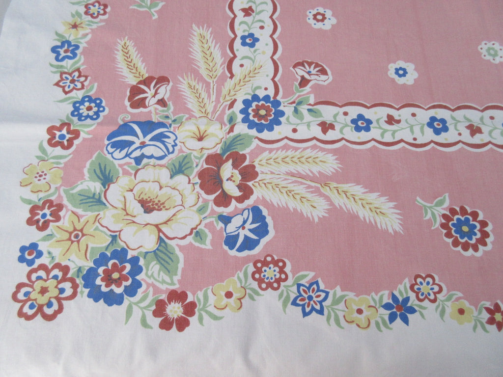 Earlier Roses Morning Glories on Chalk Pink Floral Vintage Printed Tablecloth (51 X 48)