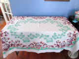 Grey Tan Hydrangeas on Green Callaway Floral Vintage Printed Tablecloth (63 X 50)