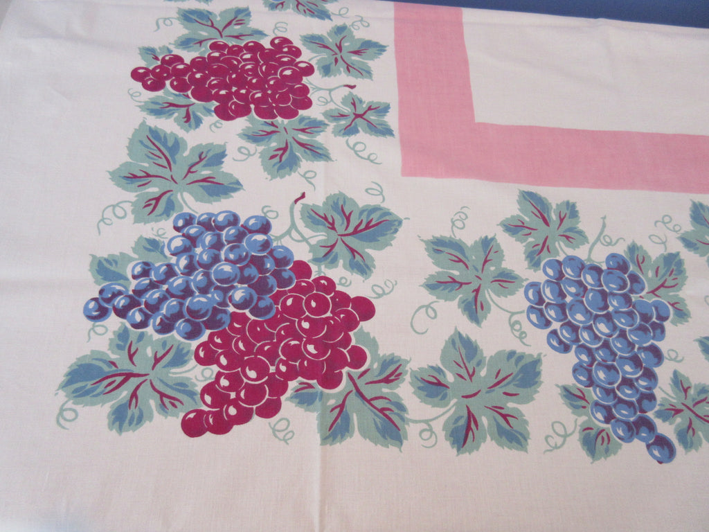 Magenta Blue Green Grapes on Pink Cutter? Vintage Printed Tablecloth (56 X 54)