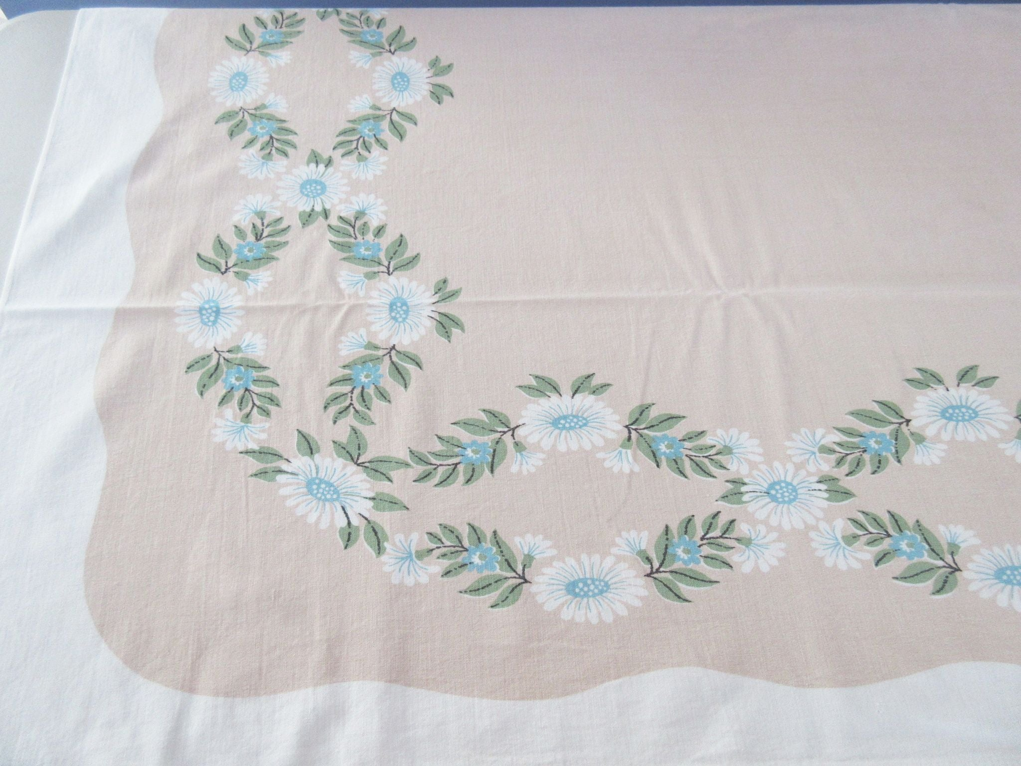Daisy Chains on Tan Ivan Bartlett Floral Vintage Printed Tablecloth (53 X 43)