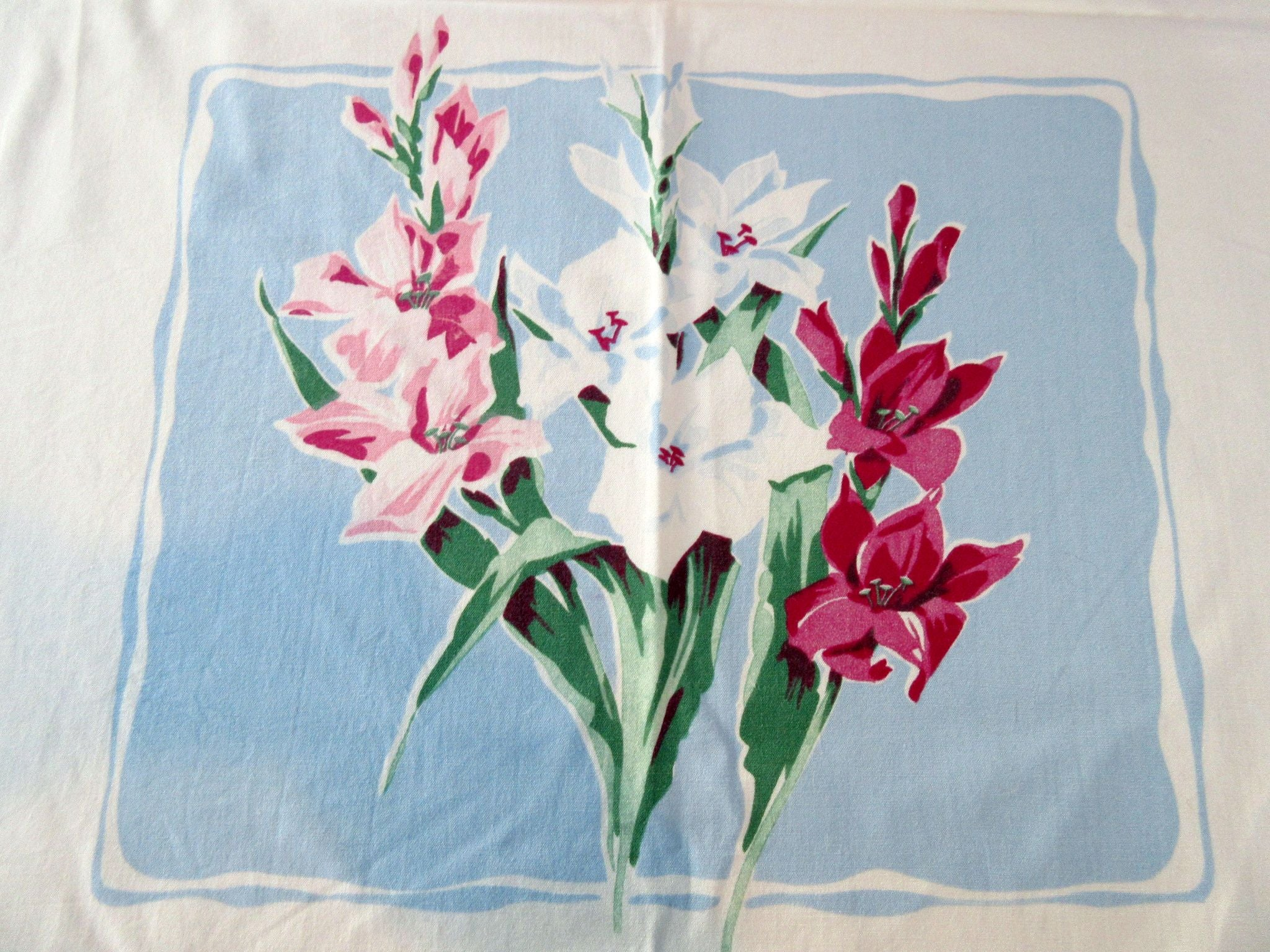 Pink Gladioli on Blue America's Pride Floral Vintage Printed Tablecloth (59 X 55)