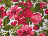 Red Terry Tropical Fruit Hibiscus MWT Vintage Printed Tablecloth (70 X 51)