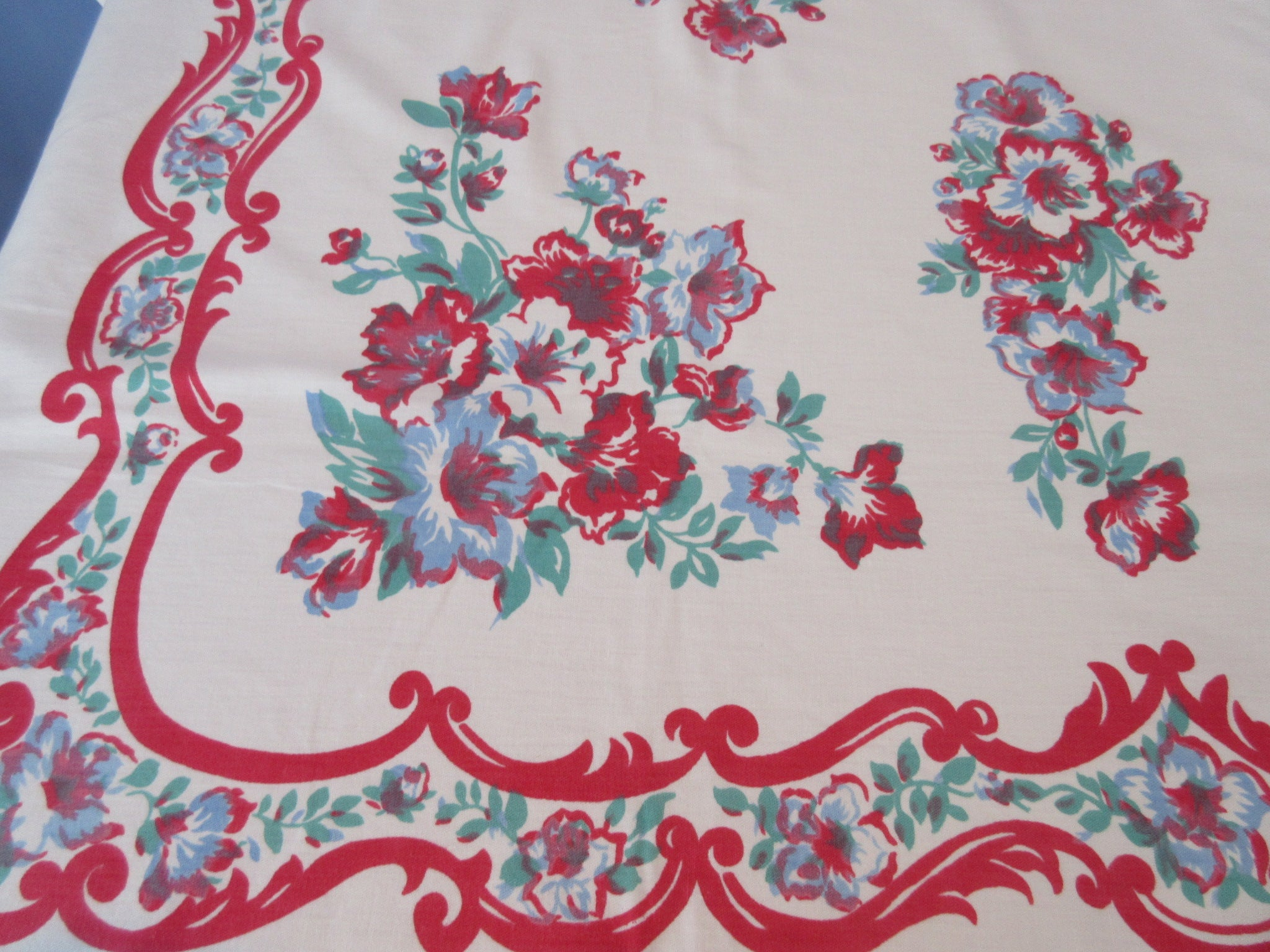 Early Red Blue Green Larger Floral Vintage Printed Tablecloth (66 X 54)