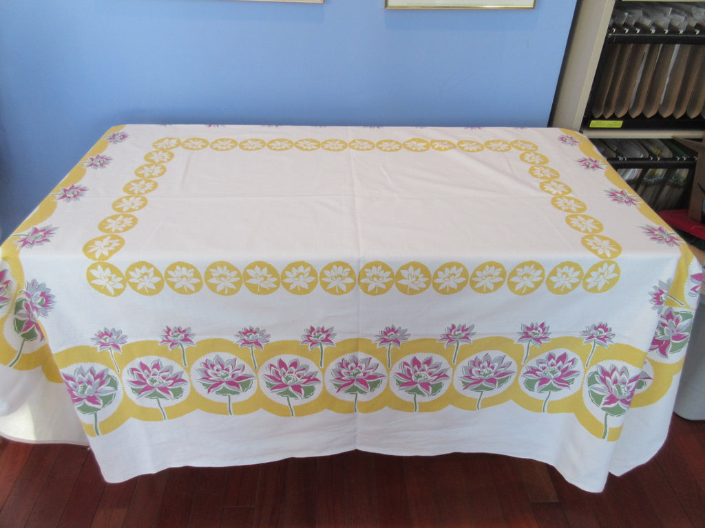 Larger Gray Magenta Water Lilies on Yellow Floral Vintage Printed Tablecloth (70 X 61)