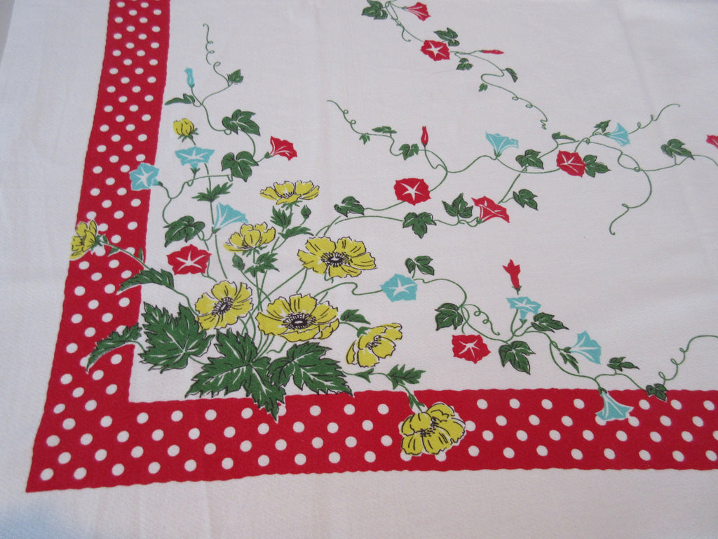 Red Aqua Yellow Morning Glories Polka Dots Floral Vintage Printed Tablecloth (50 X 48)