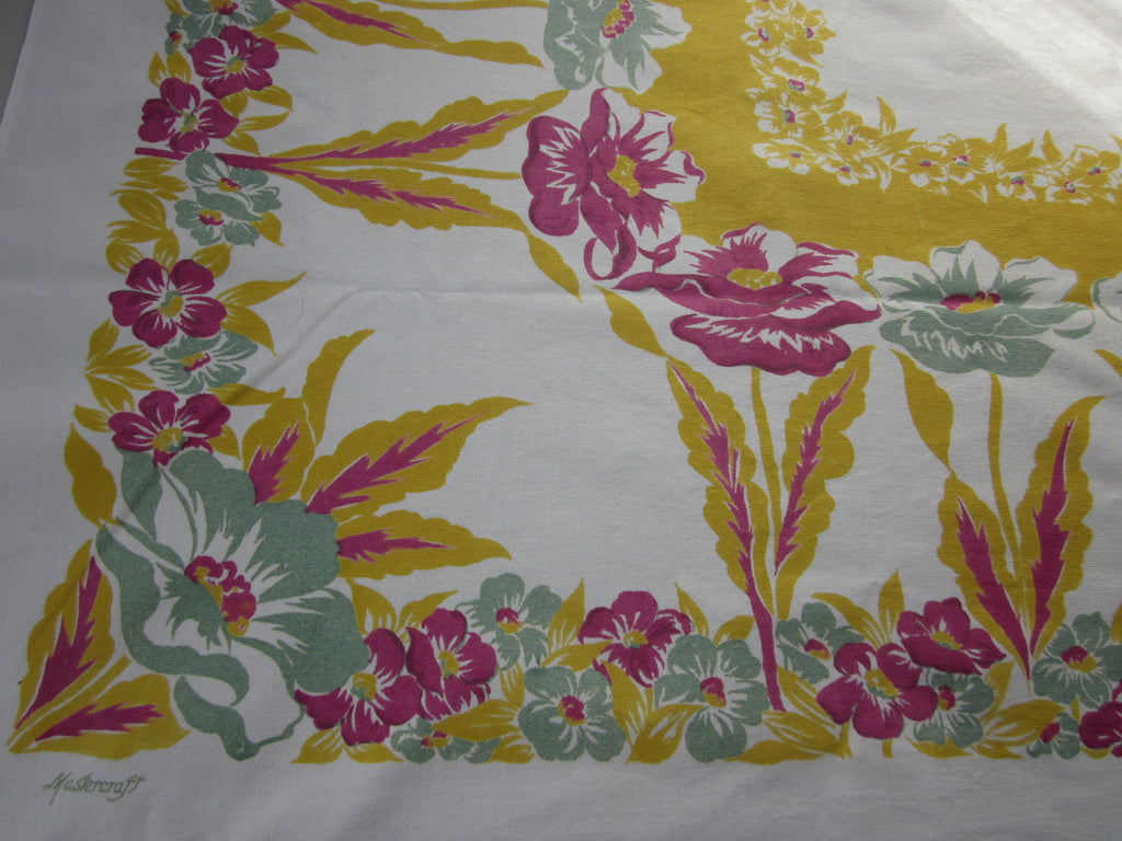 Unusual Pink Green Poppies on Gold Floral Vintage Printed Tablecloth (50 X 45)