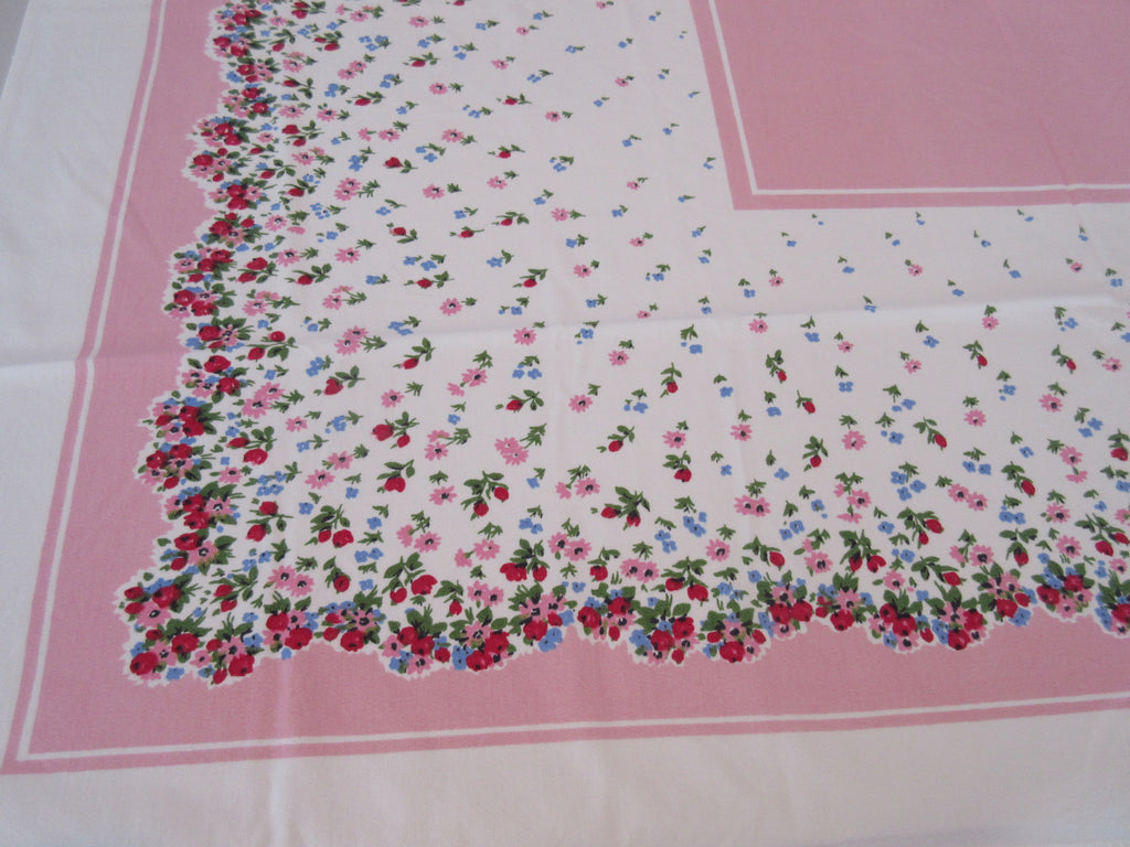 Pink Blue Petite Flowers on Pink Floral Vintage Printed Tablecloth (51 X 43)