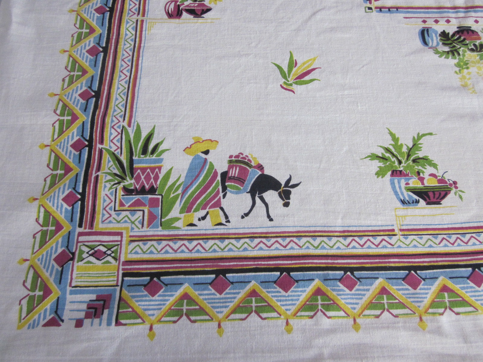 Pastel Mexican Novelty NWOT Vintage Printed Tablecloth (51 X 50)