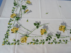 Yellow Green Shadow Roses MWT Floral Vintage Printed Tablecloth (52 X 50)