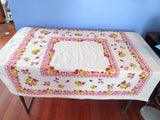 Pears Apples Cherries on Pink Fruit Topper Vintage Printed Tablecloth (44 X 40)