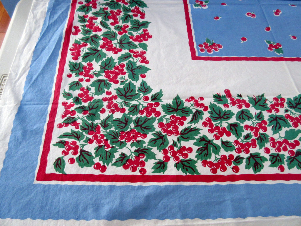 Cherries on Blue Cutter? Fruit Vintage Printed Tablecloth (48 X 45)