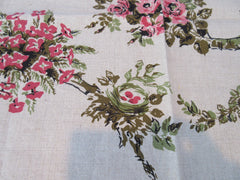 Pink Flowers Birds Nests on Burlap Linen MWT Floral Vintage Printed Tablecloth (51 X 51)