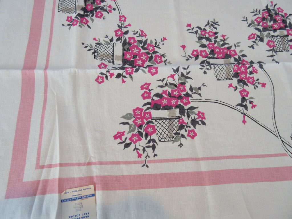 Trailing Petunias on Pink Linen MWT Floral Vintage Printed Tablecloth (50 X 50)