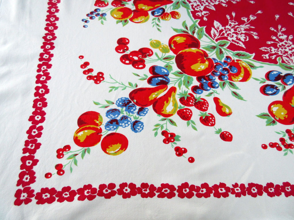 Bright Fruit on Red Center Vintage Printed Tablecloth (52 X 42)