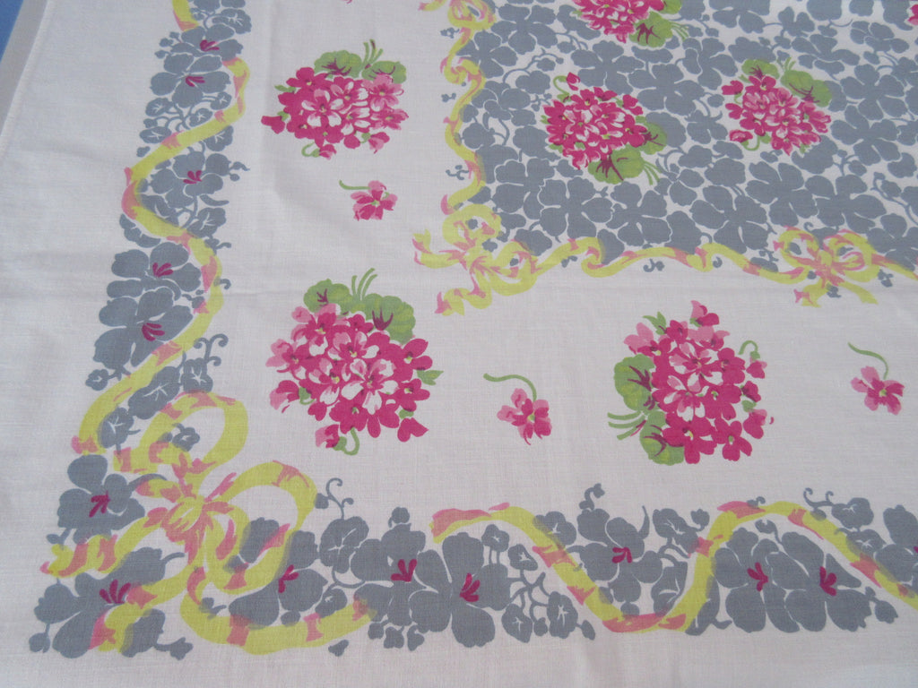 Pink Violets Yellow Ribbons Gray Floral Vintage Printed Tablecloth (65 X 49)
