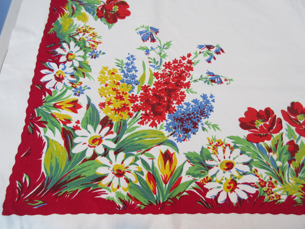 HTF Wilendur Hyacinth Poppies Garden Floral Vintage Printed Tablecloth (52 X 48)
