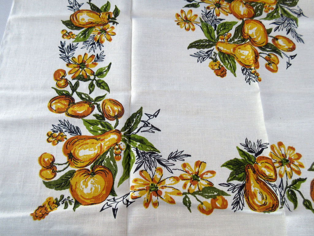 Gold Green Fruit Linen Topper MWT Vintage Printed Tablecloth (36 X 34)