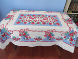 Larger Primary Fruit on French Blue Vintage Printed Tablecloth (62 X 53)