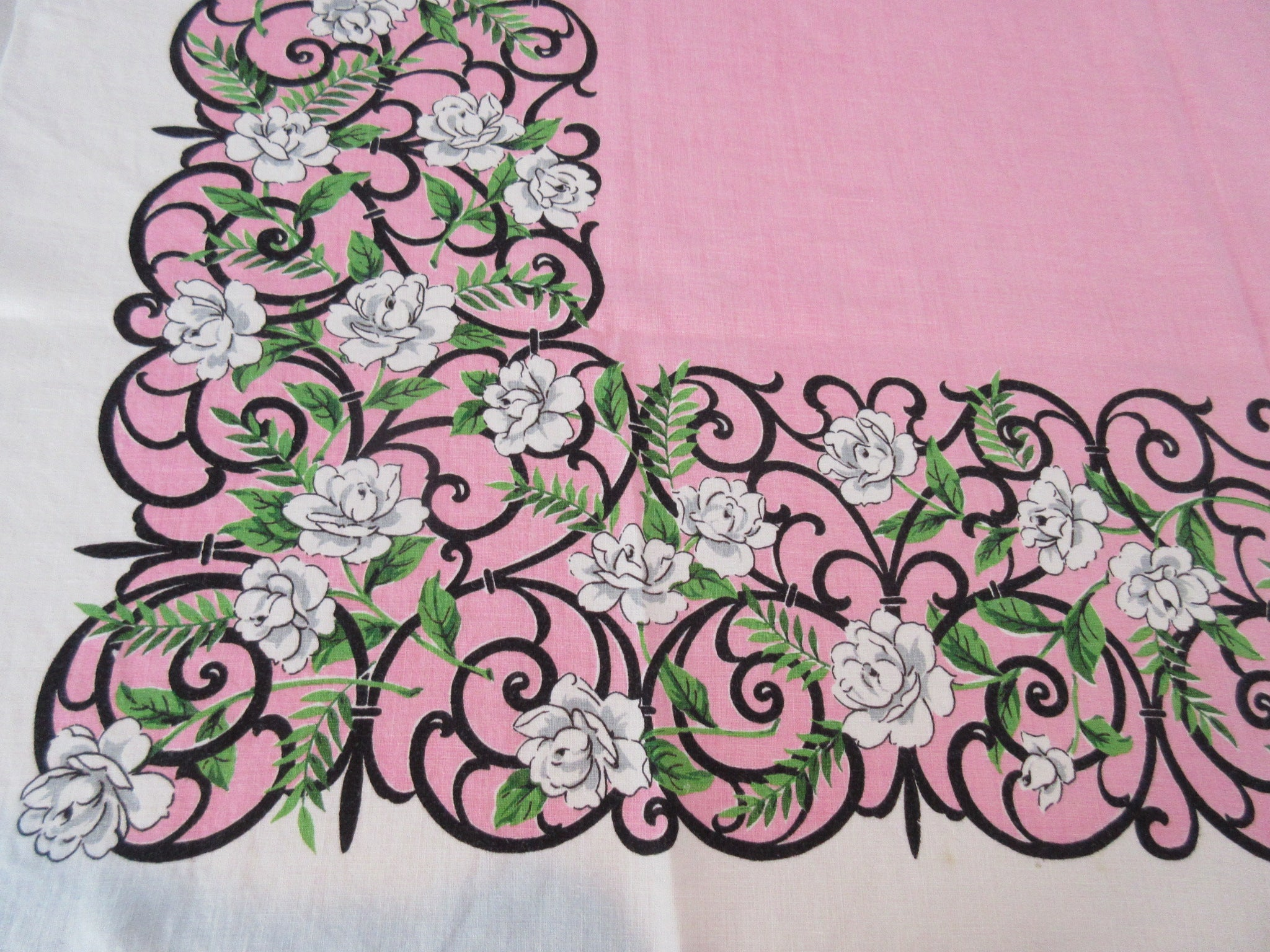 White Begonias Wrought Iron on Pink Linen Floral Vintage Printed Tablecloth (48 X 47)