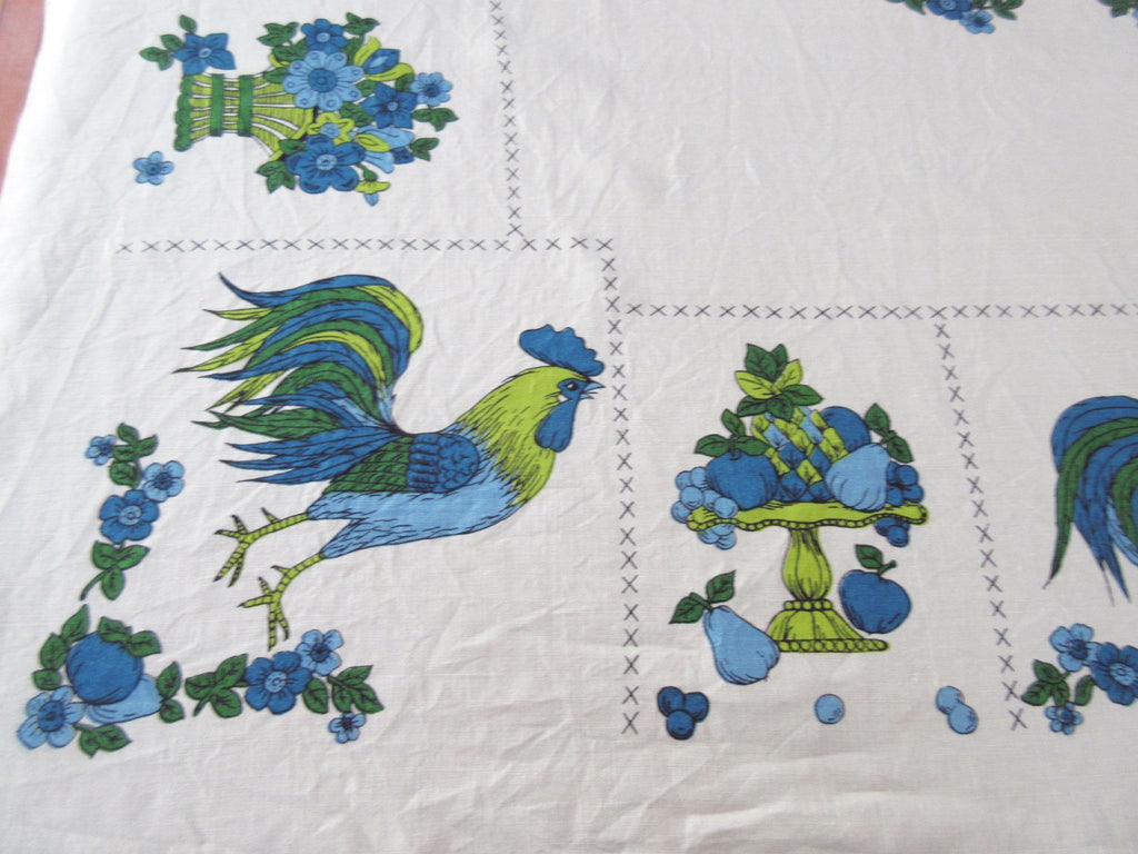 Larger Blue Roosters Flowers 60s Linen Novelty Vintage Printed Tablecloth (68 X 50)