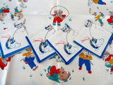 RARE Trowbridge Anthro Dogs Cats Boxed Set Linen Novelty Vintage Printed Tablecloth (35 X 34)