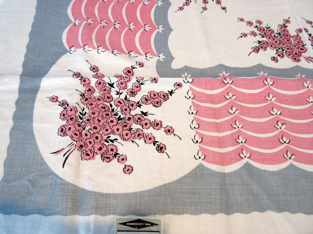 Pink Gray Bouquet Ribbons MWT Linen Floral Vintage Printed Tablecloth (51 X 50)