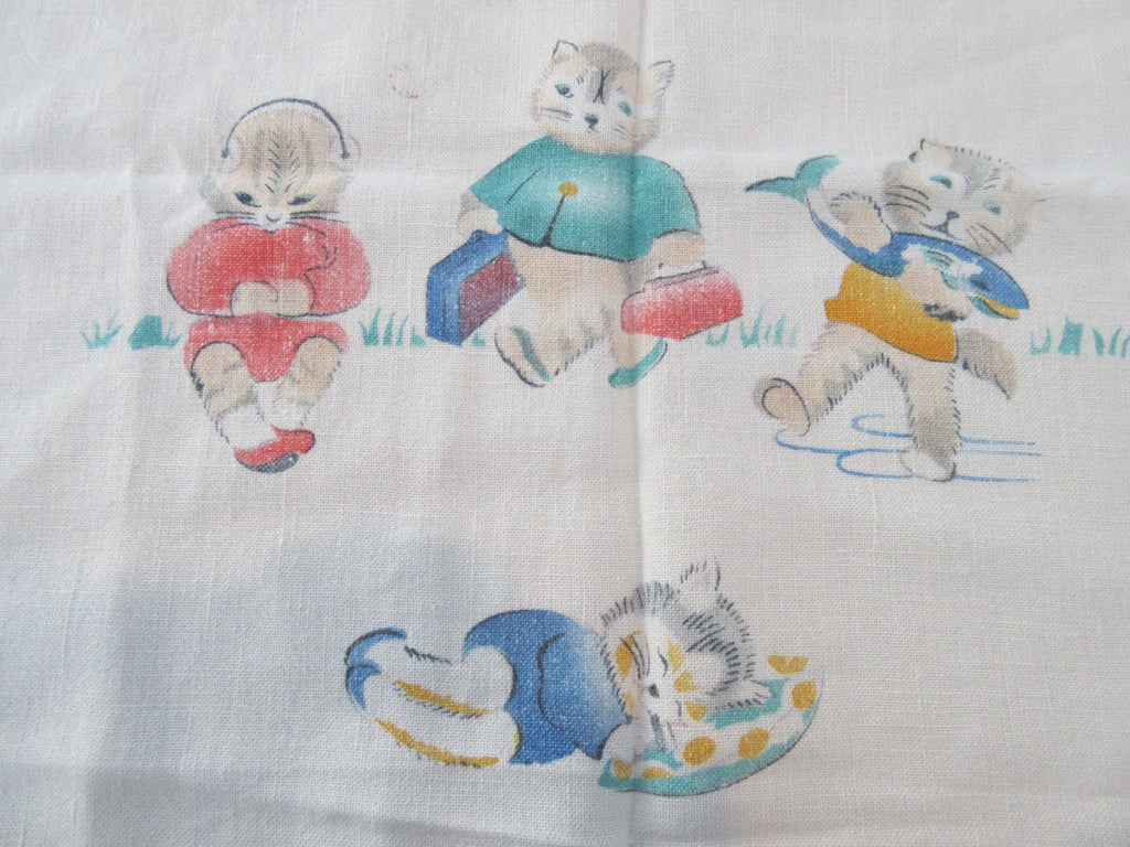 RARE Anthro Cats Fishing Napkins Linen Novelty Vintage Printed Tablecloth (35 X 32)