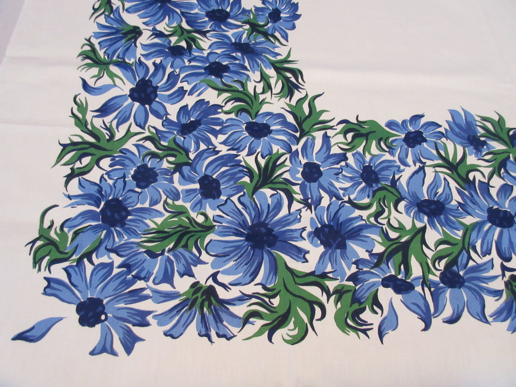 Unused Artistic Blue Green Daisies Floral Vintage Printed Tablecloth (51 X 51)