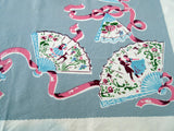 Dancing People Fans Topper Napkins Novelty Vintage Printed Tablecloth (35 X 30)