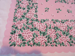 Gorgeous Pink Green Phlox Floral Vintage Printed Tablecloth (65 X 53)