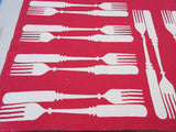 Rare Reverse Printed Flatware Forks Knives on Red Linen Novelty Vintage Printed Tablecloth (51 X 48)