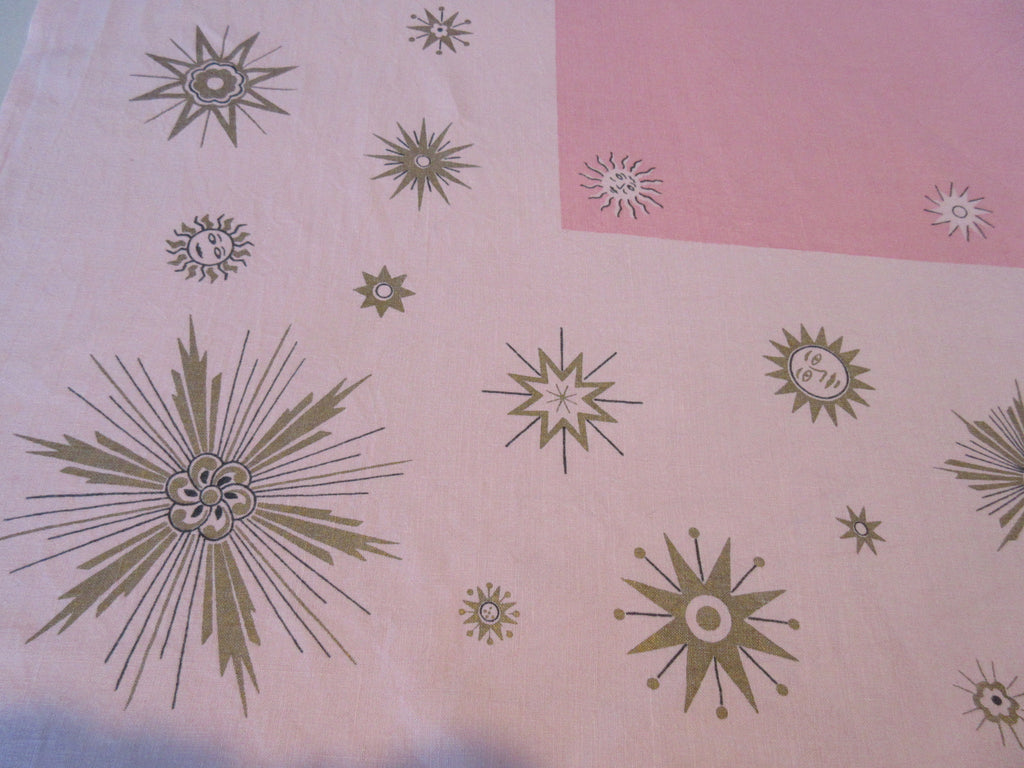 Atomic Gold Suns Stars PINK Linen Novelty Vintage Printed Tablecloth (66 X 50)