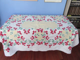 Awesome Red Green Cherry Hearts on Yellow Fruit Vintage Printed Tablecloth (62 X 53)